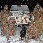 Regardless of the weather we hunt unless it becomes hazardous. These hunters braved the elements and were rewarded with a successful hunt.